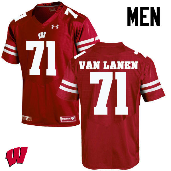 Men Wisconsin Badgers #71 Cole Van Lanen College Football Jerseys-Red